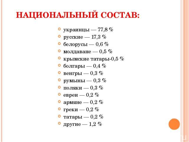 НАЦИОНАЛЬНЫЙ СОСТАВ: украинцы — 77,8 % русские — 17,3 % белорусы — 0,6 % молдаване — 0,5 % крымские татары-0,5 % болгары — 0,4 % венгры — 0,3 % румыны — 0,3 % поляки — 0,3 % евреи — 0,2 % армяне — 0,2 % греки — 0,2 % татары — 0,2 % другие — 1,2 %