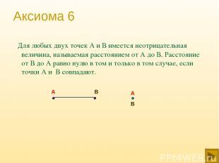 Аксиома 6 Для любых двух точек А и В имеется неотрицательная величина, называема