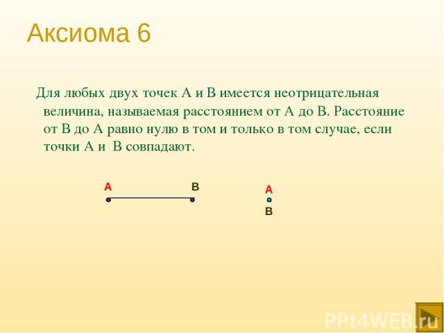 Аксиома 6 Для любых двух точек А и В имеется неотрицательная величина, называемая расстоянием от А до В. Расстояние от В до А равно нулю в том и только в том случае, если точки А и В совпадают. А В А В