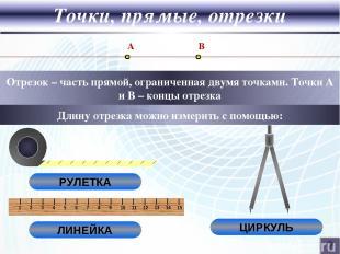Точки, прямые, отрезки Отрезок – часть прямой, ограниченная двумя точками. Точки