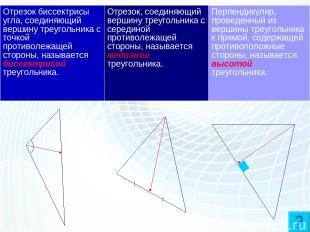 Три отрезка треугольника. Отрезок биссектрисы угла, соединяющий вершину треуголь