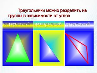 Треугольники можно разделить на группы в зависимости от углов остроугольный прям