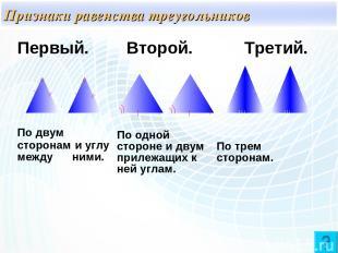 Признаки равенства треугольников Первый. Второй. Третий. По двум сторонам и углу