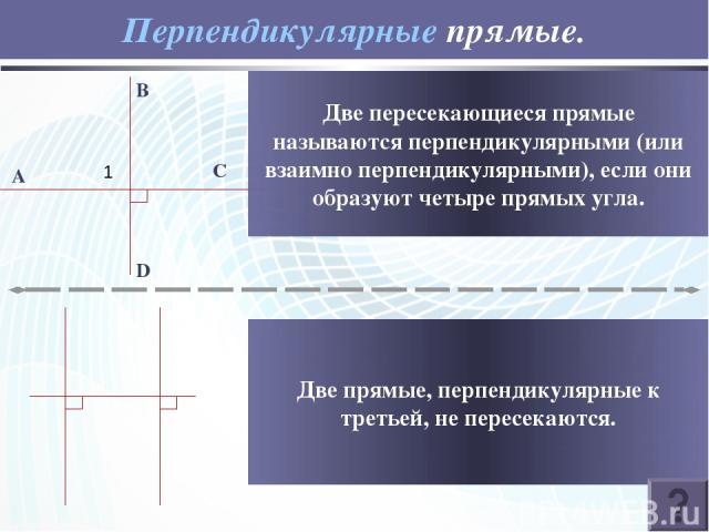Перпендикулярные прямые. B D C A 1 Две пересекающиеся прямые называются перпендикулярными (или взаимно перпендикулярными), если они образуют четыре прямых угла. Две прямые, перпендикулярные к третьей, не пересекаются.