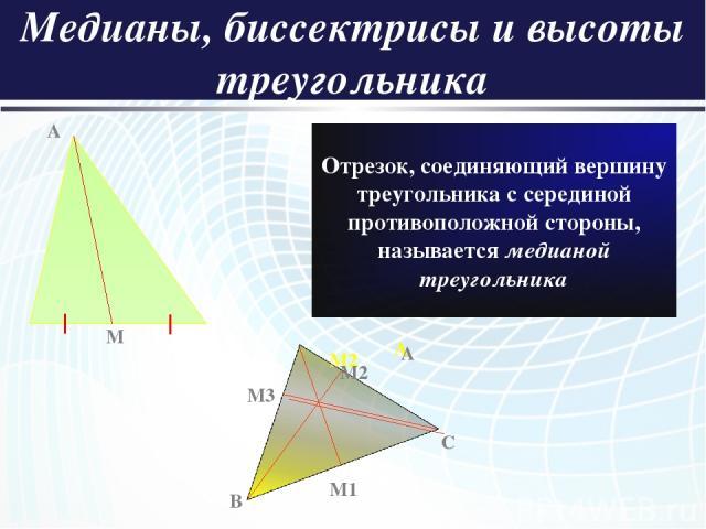 Медианы, биссектрисы и высоты треугольника A M Отрезок, соединяющий вершину треугольника с серединой противоположной стороны, называется медианой треугольника A C M2 B M1 M3 A M2