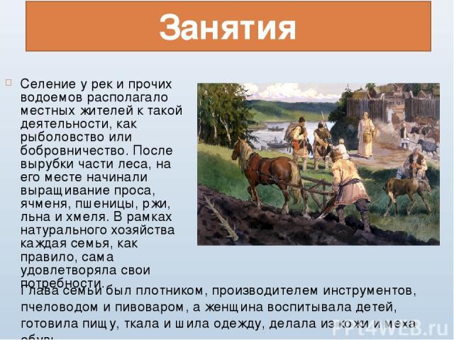 Занятия Селение у рек и прочих водоемов располагало местных жителей к такой деятельности, как рыболовство или бобровничество. После вырубки части леса, на его месте начинали выращивание проса, ячменя, пшеницы, ржи, льна и хмеля. В рамках натуральног…