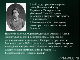 В 1876 году произошел переезд семьи Чеховых в Москву. Торговля в Таганроге стала