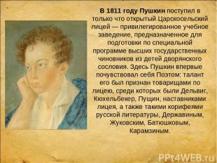 В 1811 году Пушкинпоступил в только что открытый Царскосельский лицей — привиле