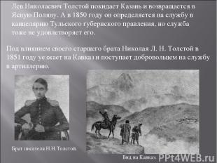 Лев Николаевич Толстой покидает Казань и возвращается в Ясную Поляну. А в 1850 г