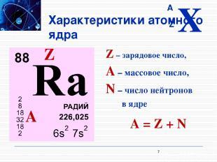 Характеристики атомного ядра Z – зарядовое число, A – массовое число, N – число