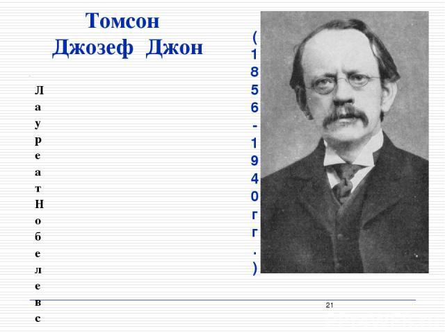 Томсон Джозеф Джон (1856 - 1940 гг.) Лауреат Нобелевской премии за открытие электрона, предложил одну из первых атомных моделей, исследовал катодные и рентгеновские лучи, изучал прохождение электрического тока через разряженные газы, разработал прин…