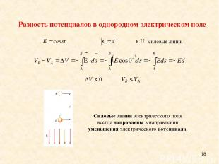 * Силовые линии электрического поля всегда направлены в направлении уменьшения э