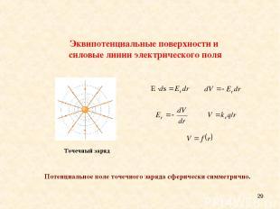 * Потенциальное поле точечного заряда сферически симметрично. Эквипотенциальные