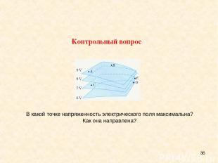 * В какой точке напряженность электрического поля максимальна? Как она направлен