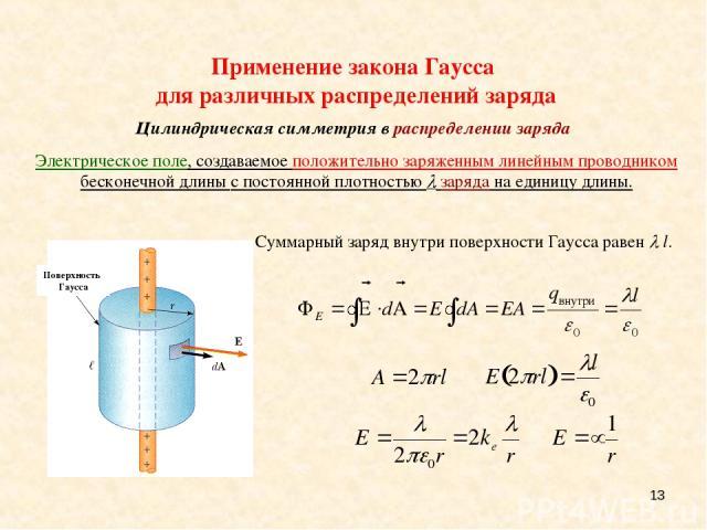* Суммарный заряд внутри поверхности Гаусса равен l. Применение закона Гаусса для различных распределений заряда Цилиндрическая симметрия в распределении заряда Электрическое поле, создаваемое положительно заряженным линейным проводником бесконечной…
