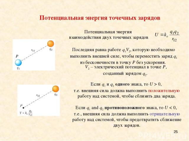 * Потенциальная энергия точечных зарядов V2 – электрический потенциал в точке P, созданный зарядом q2. Последняя равна работе q1V2, которую необходимо выполнить внешней силе, чтобы переместить заряд q1 из бесконечности в точку P без ускорения. Если …