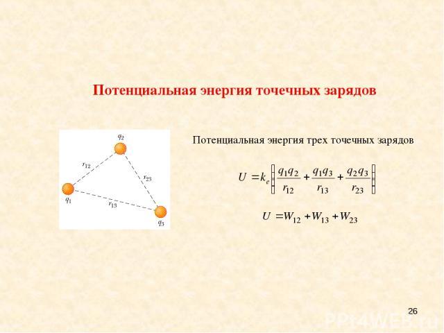 * Потенциальная энергия трех точечных зарядов Потенциальная энергия точечных зарядов