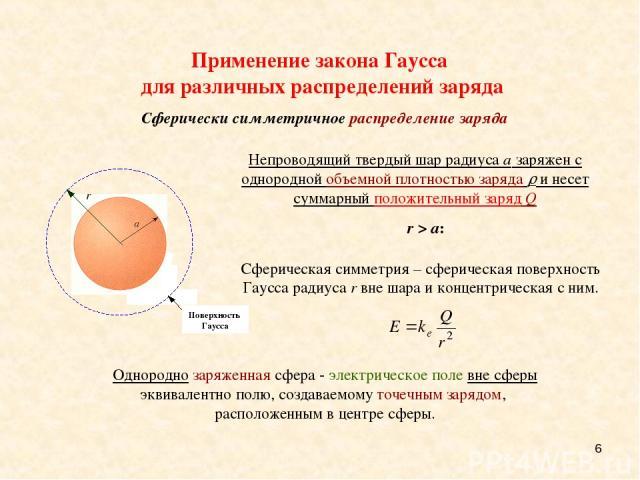 * Сферическая симметрия – сферическая поверхность Гаусса радиуса r вне шара и концентрическая с ним. Однородно заряженная сфера - электрическое поле вне сферы эквивалентно полю, создаваемому точечным зарядом, расположенным в центре сферы. Непроводящ…