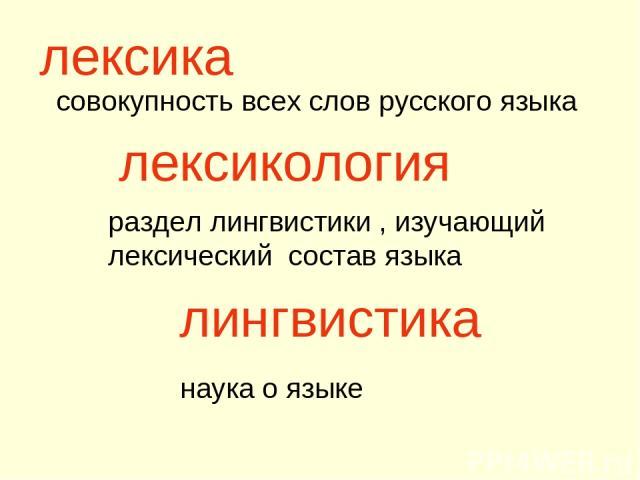 совокупность всех слов русского языка лексика раздел лингвистики , изучающий лексический состав языка лингвистика наука о языке лексикология