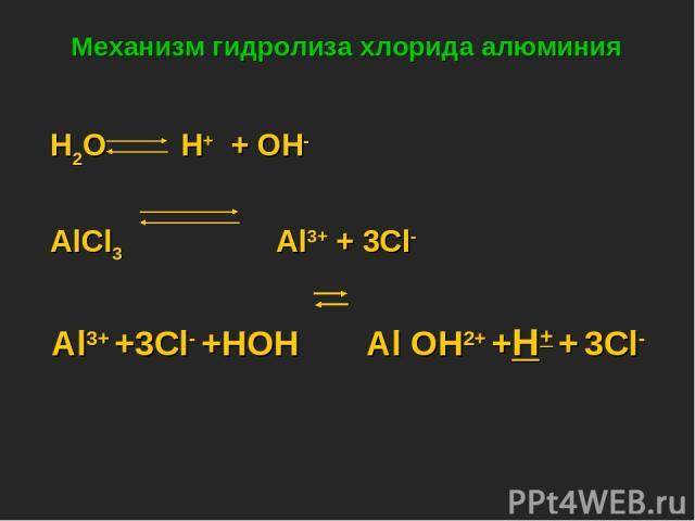 Механизм гидролиза хлорида алюминия H2O H+ + OH- AlCl3 Al3+ + 3Cl- Al3+ +3Cl- +HOH Al OH2+ +H+ + 3Cl-