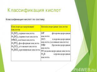 Классификация кислот Классификация кислот по составу. Кислородсодержащие кислоты
