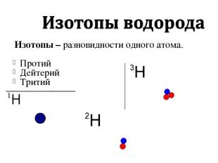 Изотопы – разновидности одного атома. Протий Дейтерий Тритий