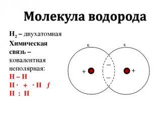 Н2 – двухатомная Химическая связь – ковалентная неполярная: H – H H · + · H → H
