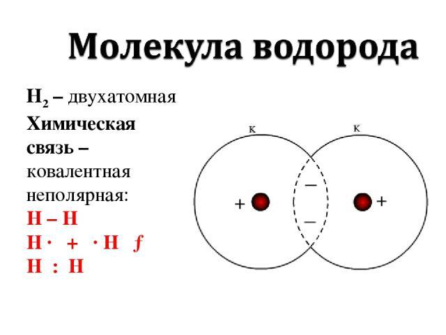 Н2 – двухатомная Химическая связь – ковалентная неполярная: H – H H · + · H → H : H