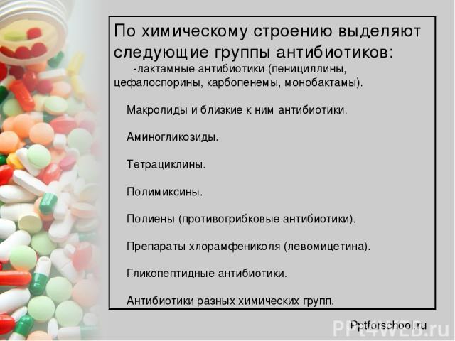 По химическому строению выделяют следующие группы антибиотиков: β-лактамные антибиотики (пенициллины, цефалоспорины, карбопенемы, монобактамы). Макролиды и близкие к ним антибиотики. Аминогликозиды. Тетрациклины. Полимиксины. Полиены (противогрибков…