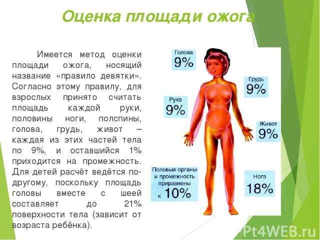 Оценка площади ожога Имеется метод оценки площади ожога, носящий название «правило девятки». Согласно этому правилу, для взрослых принято считать площадь каждой руки, половины ноги, полспины, голова, грудь, живот – каждая из этих частей тела по 9%, …