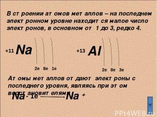В строении атомов металлов – на последнем электронном уровне находится малое чис
