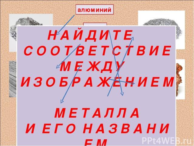 алюминий барий ртуть железо медь хром Н А Й Д И Т Е С О О Т В Е Т С Т В И Е М Е Ж Д У И З О Б Р А Ж Е Н И Е М М Е Т А Л Л А И Е Г О Н А З В А Н И Е М