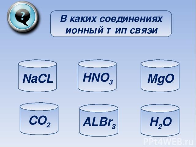 В каких соединениях ионный тип связи NaCL CO2 ALBr3 H2O MgO HNO3
