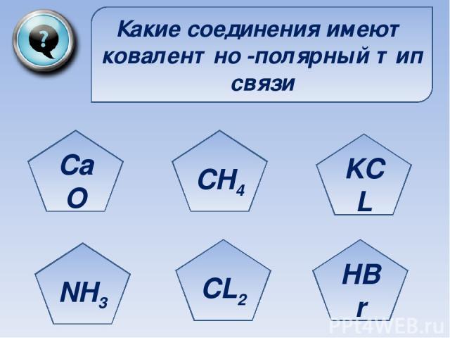 Какие соединения имеют ковалентно -полярный тип связи CaO NH3 CL2 HBr KCL CH4