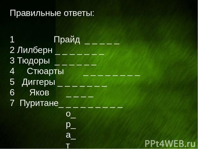 Правильные ответы: 1 Прайд _ _ _ _ _ 2 Лилберн _ _ _ _ _ _ _ 3 Тюдоры _ _ _ _ _ _ 4 Стюарты _ _ _ _ _ _ _ _ 5 Диггеры _ _ _ _ _ _ _ 6 Яков _ _ _ _ 7 Пуритане_ _ _ _ _ _ _ _ _ о_ р_ а_ т_