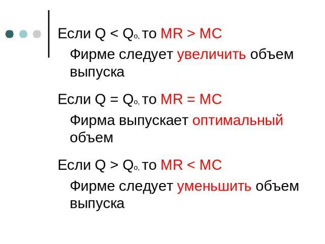 Если Q < Qo, то MR > MC Фирме следует увеличить объем выпуска Если Q = Qo, то MR = MC Фирма выпускает оптимальный объем Если Q > Qo, то MR < MC Фирме следует уменьшить объем выпуска