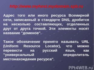 http://www.myhost.mydomain.spb.ru Адрес того или иного ресурса Всемирной сети, з