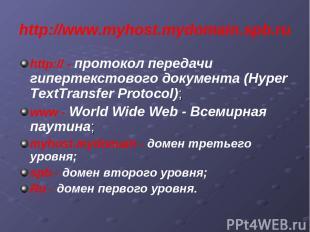 http://www.myhost.mydomain.spb.ru http:// - протокол передачи гипертекстового до