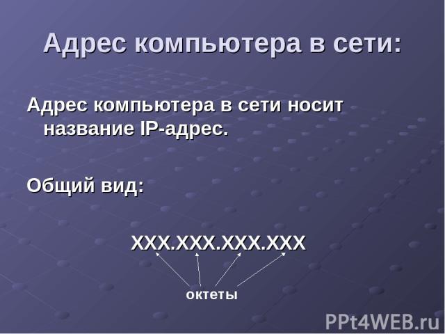 Адрес компьютера в сети: Адрес компьютера в сети носит название IP-адрес. Общий вид: ХХХ.ХХХ.ХХХ.ХХХ октеты