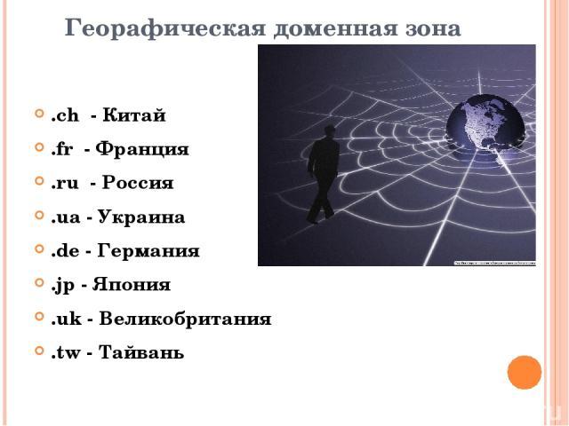 Георафическая доменная зона .ch - Китай .fr - Франция .ru - Россия .ua - Украина .de - Германия .jp - Япония .uk - Великобритания .tw - Тайвань