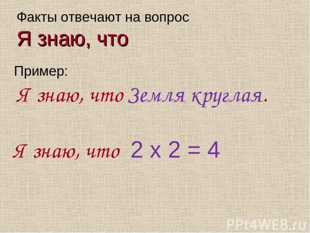 Факты отвечают на вопрос Я знаю, что Пример: Я знаю, что Земля круглая. Я знаю, что 2 х 2 = 4