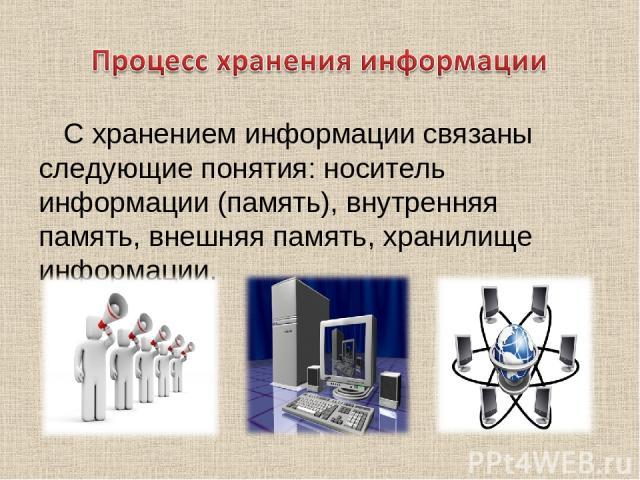 С хранением информации связаны следующие понятия: носитель информации (память), внутренняя память, внешняя память, хранилище информации.