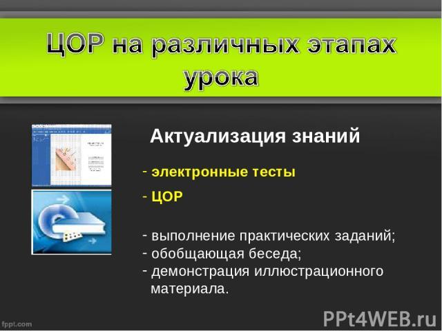 Актуализация знаний электронные тесты ЦОР выполнение практических заданий; обобщающая беседа; демонстрация иллюстрационного материала.