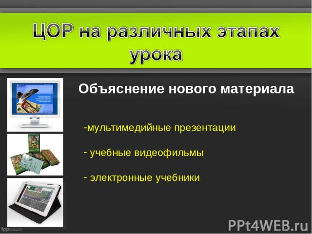 Объяснение нового материала мультимедийные презентации учебные видеофильмы электронные учебники