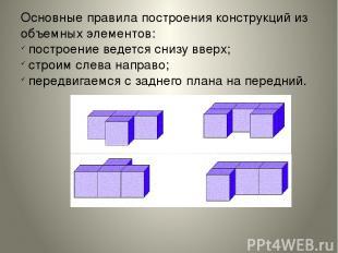 Основные правила построения конструкций из объемных элементов: построение ведетс