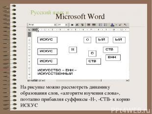 На рисунке можно рассмотреть динамику образования слов, «алгоритм изучения слова