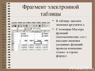 Фрагмент электронной таблицы В таблицу заносим значения аргумента х С помощью Ма