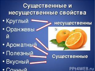 Существенные и несущественные свойства Круглый Оранжевый Ароматный Полезный Вкус