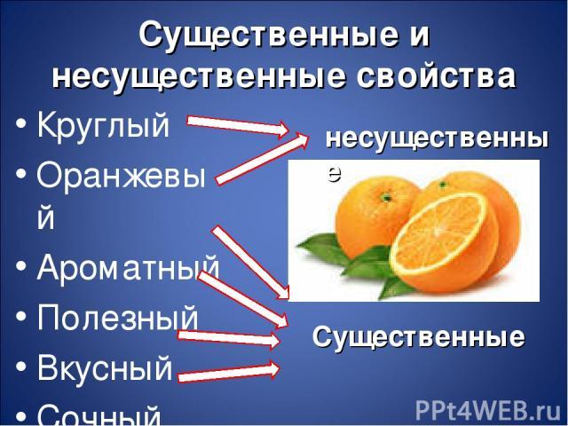Существенные и несущественные свойства Круглый Оранжевый Ароматный Полезный Вкусный Сочный