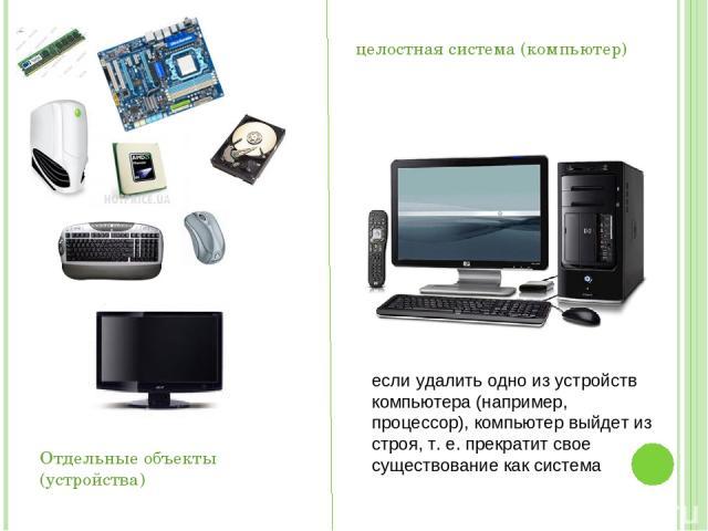 Отдельные объекты (устройства) целостная система (компьютер) если удалить одно из устройств компьютера (например, процессор), компьютер выйдет из строя, т. е. прекратит свое существование как система